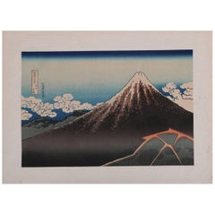 Japanese Hiroshige School Woodblock Print of Mt. Fuji, Chop Mark Signed