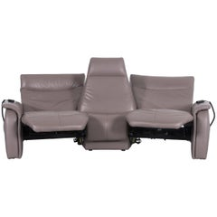 Himolla Trapez Sofa Grey Brown Three-Seat Couch Recliner