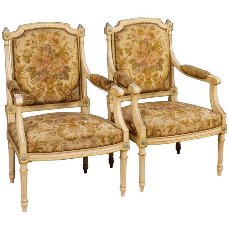 Pair of Lacquered Wooden French Armchairs in Louis XVI Style from 20th Century