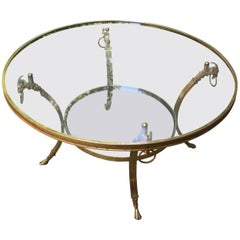 1970s Brass Coffee Table with Beautiful Rams