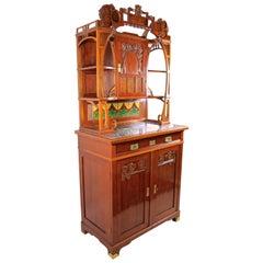 Art Nouveau Cabinet Nut Wood Hand-Carved, Austria, circa 1900