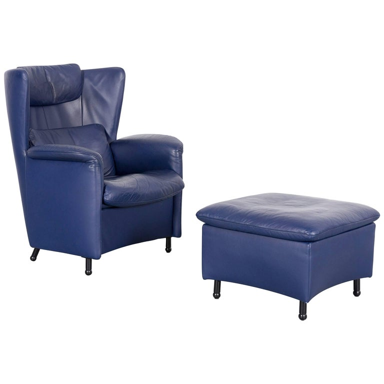 De Sede DS 23 Leather Armchair Set Blue One-Seat with Foot-Stool