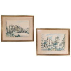 Italian giltwood Framed Watercolor Street Scene Prints by Mario Carraro