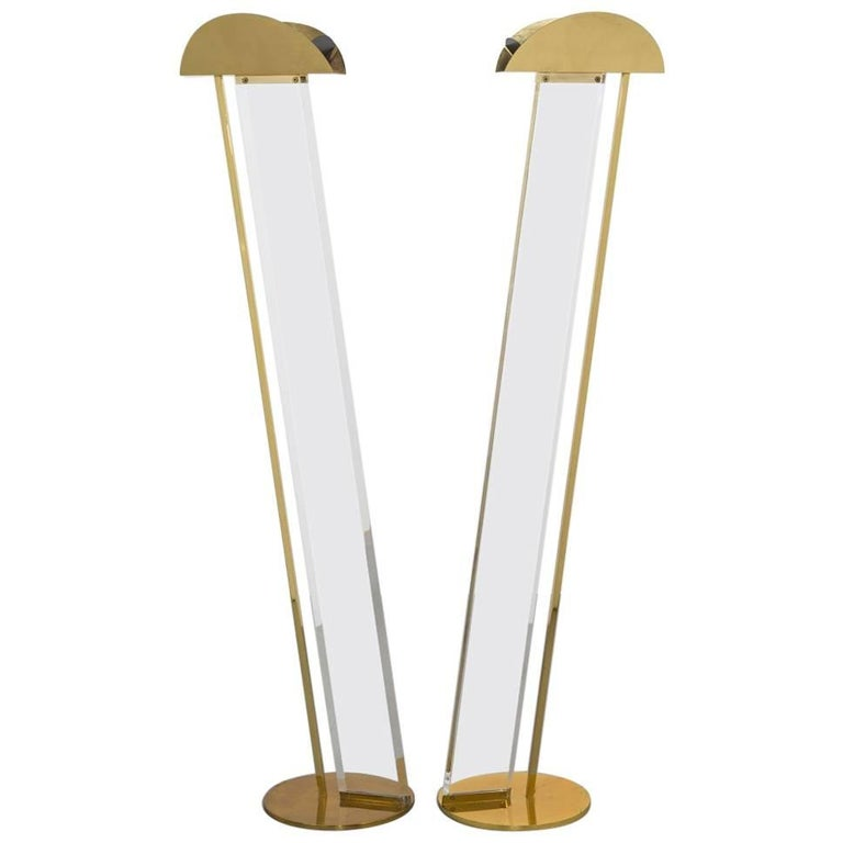 Pair of Brass and Lucite Floor Lamps by Frederick Ramond