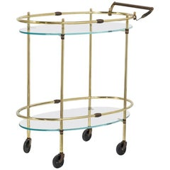 Oval Two-Tier Brass Framed Bar Cart with Glass Shelves, 1960s