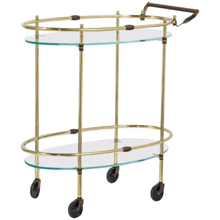 Brass Bar Cart with Glass Shelves For Sale at 1stdibs