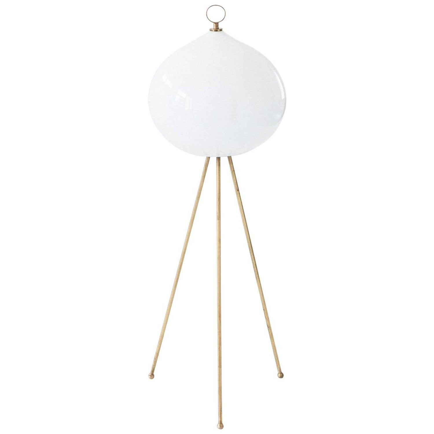 Cedric Hartman Floor Lamp In Brass And Chrome With Lucite