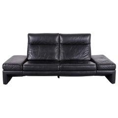 Mondo Leather Sofa Black Three-Seat Recliner