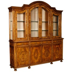 Italian Bookcase in Walnut and Burl Wood from 20th Century