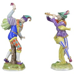 Pair or Volkstedt Porcelain Figurines Commedia Dell Arte Germany