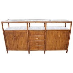 1990s Bamboo Spanish Sideboard with Glass Top