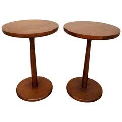 Pair of Midcentury Style Round Rosewood Side Tables