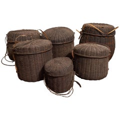 Set of Six 19th Century African Woven Baskets with Lids, Mali