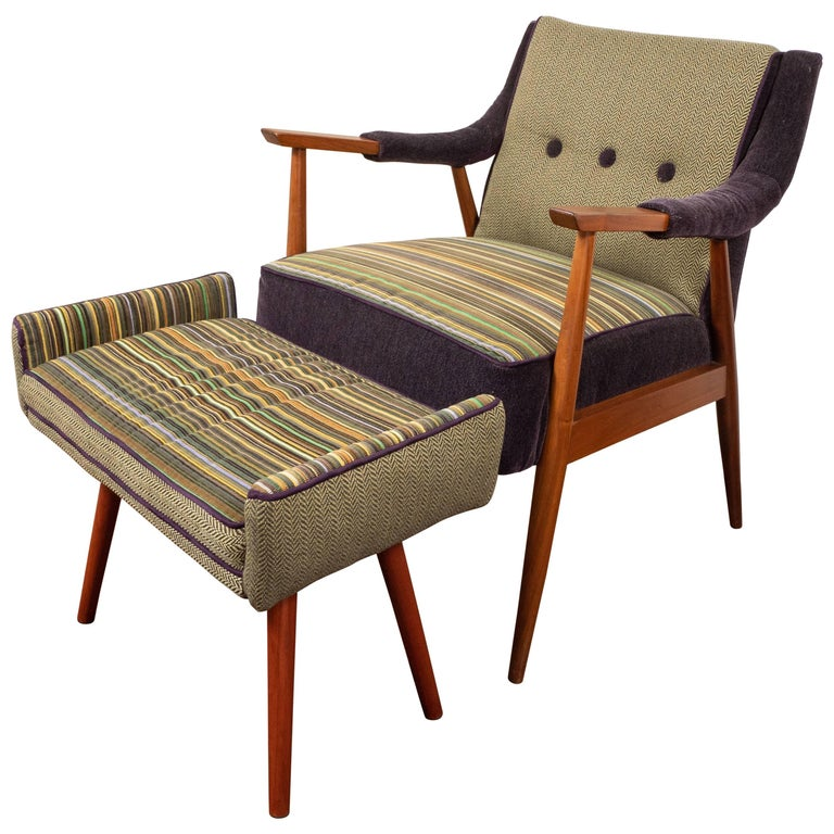 Midcentury Chair and Footstool with New Upholstery