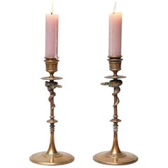 19th Century Set of F. Barbedienne Bronze Snake Candlesticks