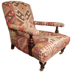 Kilim-Upholstered George Smith Style Armchair, Late 20th Century