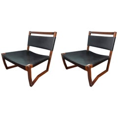 Pair of Black Leather and Rosewood Sling Chairs