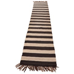 Kilim Hand-Knotted Black and White Runner