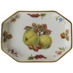 English Porcelain Octagonal Trinket or Jewelry Dish with Fruit and Gold Design