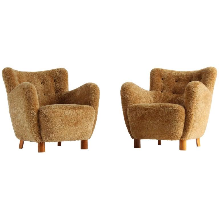 Flemming Lassen 'Attributed', Lounge Chairs, Beige Lambskin, Denmark, 1940s