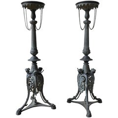Pair of French Empire Gueridons in Bronze, 1830s