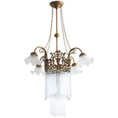 French Art Nouveau Period Gilt Bronze Crystal Seven-Light Chandelier