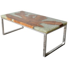 Modern Coffee Table in Teak Root and Resin with Stainless Steel Base