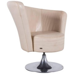 Bretz Eves Island Leather Armchair Off-White One-Seat