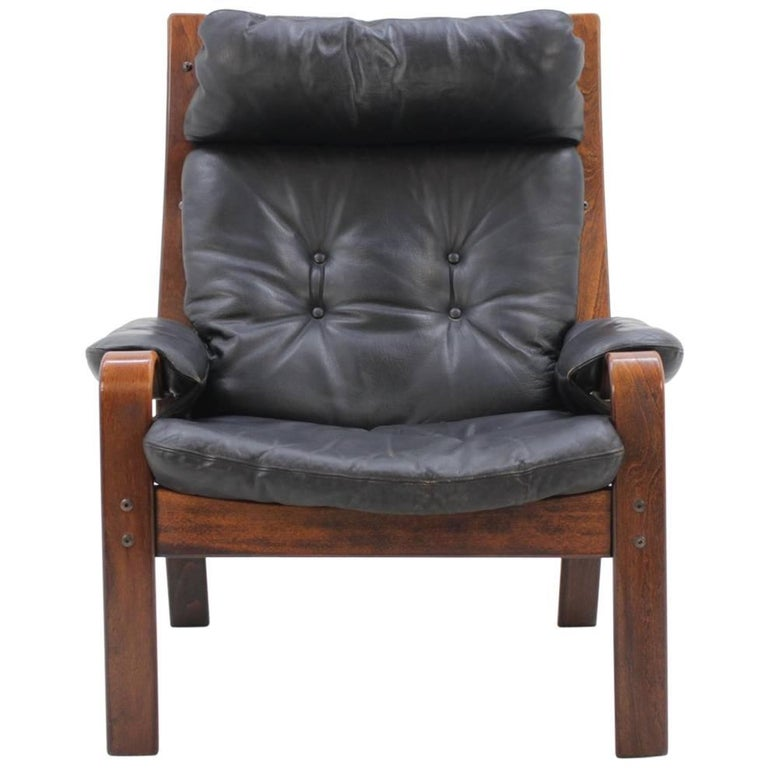 1960s Danish Bentwood Leather Lounge Chair