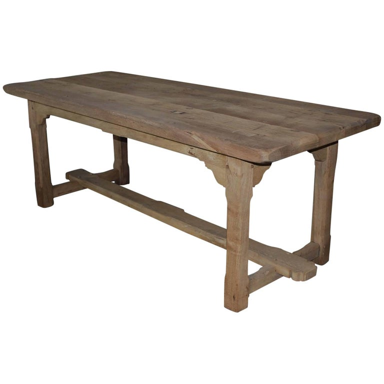 20th Century Reclaimed Oak Tresle Base Dining Table