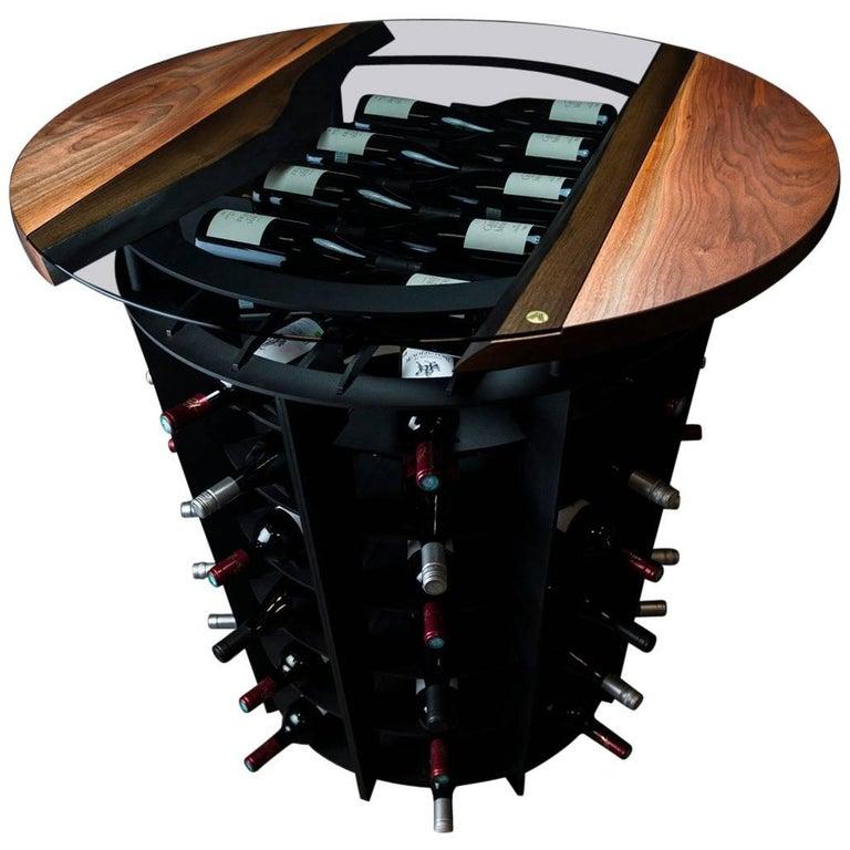 Wine Tasting & Storage Table, by Ambrozia, LiveEdge Walnut, Tinted Glass & Steel