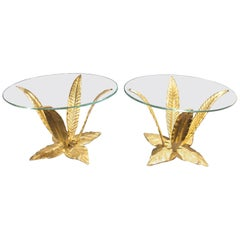 1950 Solid Brass Round Coffee Tables, All Original in Perfect Condition