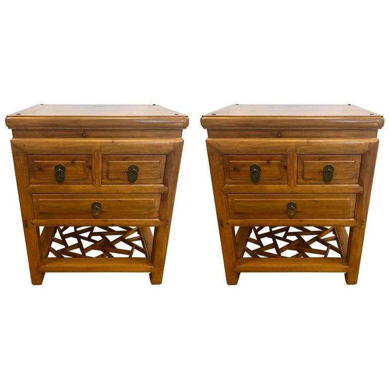 Pair Of Chinese Camphor Wood Nightstands End Tables For