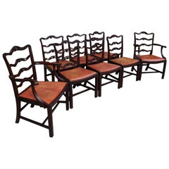 Set of Eight English Mahogany Chippendale Style Ladder Back Chairs, Circa 1850