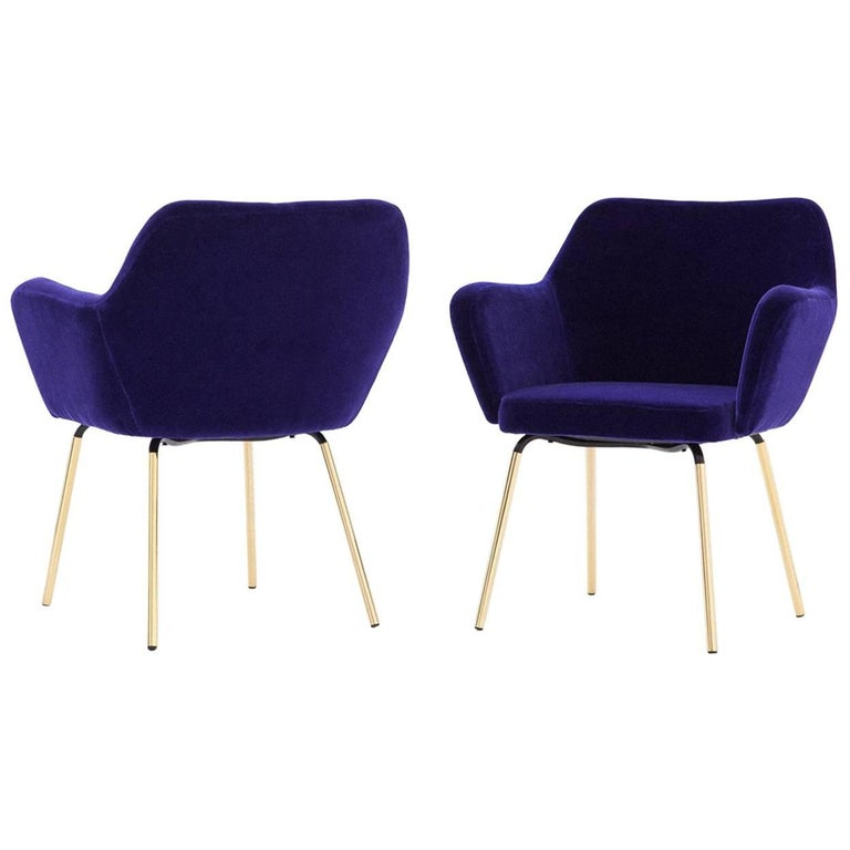 Gio Ponti for Arflex Pair of ''Airone'' Violet Velvet Armchairs, 1950s
