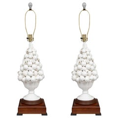 Porcelain Blanc de Chine Lemon Cluster in Urn as Table Lamps