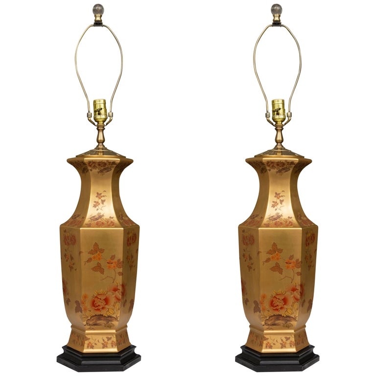 Pair of Gilt Table Lamps with Floral Design
