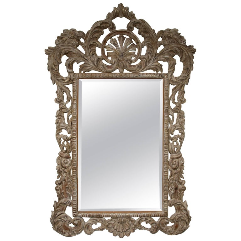 Large Hand-Carved Italian Pine Rocco Style Wall Mirror