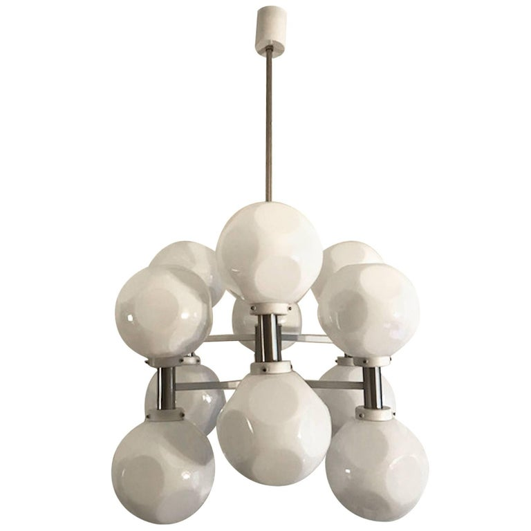 Italian 1970s Mod White Enamel and Case Glass Shade Chandelier