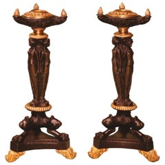 Pair of Early 19th Century Regency Bronze and Ormolu Candlesticks
