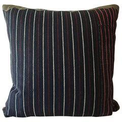 Indigo Red White Cotton Wool Striped Pillow, French, circa 1860s