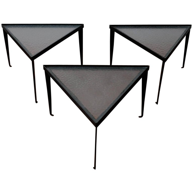 Three Iron and Glass Triangular Tables, 1950s