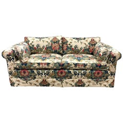Vintage Chinoiserie Upholstered Sofa Linen Upholstery Mid-Century Modern