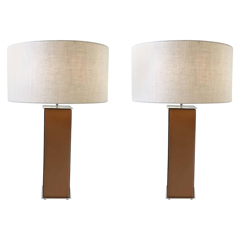 Pair of Saddle Stitch Leather Table Lamps by Laurel