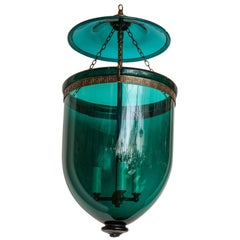 English Emerald Green Hanging Bell Jar Lantern