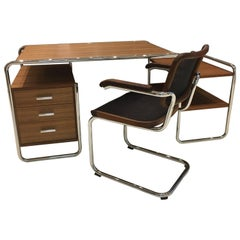 S 285 & S 64 N Tubular Steel Chrome Walnut Wood Desk & Chair by Gebruder Thonet