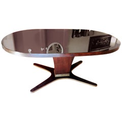 Osvaldo Borsani Mid-century Wood Oval Table and Brass and Mirror Glass Top