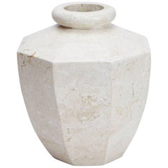 Short Octagonal Vase in White Ivory Tessellated Stone