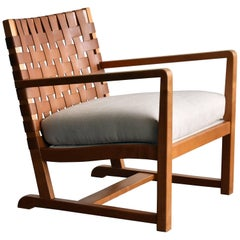 Modernist Lounge Chair, Birch, Leather, White Fabric, Denmark, 1950s
