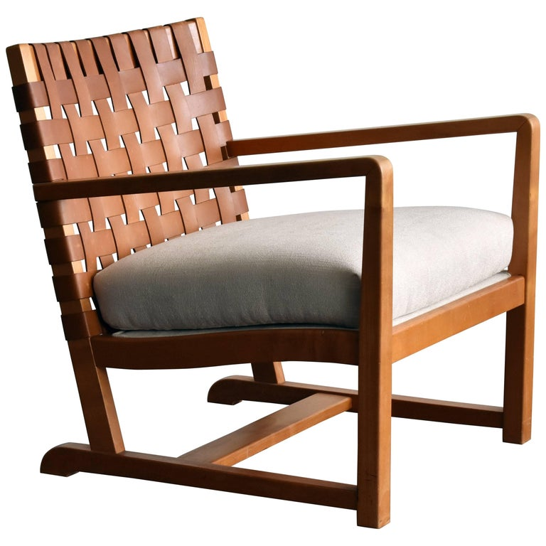 Modernist Lounge Chair, Birch, Leather, White Fabric, Denmark, 1950s